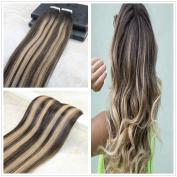 60cm 20 Pcs 50 Gramme 100% Remy Human Hair Seamless Tape Hair Extensions Colour #2 Dark Brown Fading to #27 Balayage Silk Straight Tape in Hair Extensions Omber Skin Weft Hair Extensions
