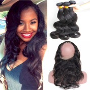 Nicewig Hair 360 Lace Frontal Band Closure With Bundles Brazilian Virgin Body Wave Human Hair Weave,Baby Hair Around And Natural Hairline