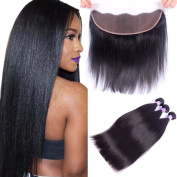 AliBarbara 8A Brazilian Straight Hair 3 Bundles with Lace Frontal Closure 100% Unprocessed Virgin Human Hair Extensions Natural Colour