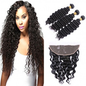 Fashion A Plus (TM) Brazilian Virgin Remy Human Hair Deep Wave 3 Bundles with 33cm ×10cm Ear to Ear Lace Frontal Closure Mixed Length with Lace Frontal Closure Natural Colour 7A+ Grade