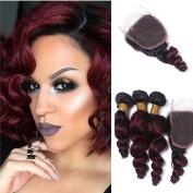 Tony Beauty Hair Brazilian Virgin Human Hair Loose Wave Bundles With Closure Ombre Colour #1B/99J 3 Bundles Hair Extensions With Lace Closure 4x 4