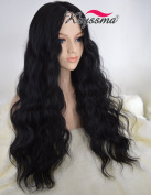K'ryssma Realistic Looking Cheap Wigs for Black Women Christmas Long Wavy Full Machine Made Middle Part None Lace Glueless Synthetic Hair Wigs for Daily Wear Heat Resistant Black #1b 60cm