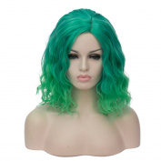 Probeauty Women's Wig Short Bob Dark Root Wig Women's Fashion Top Quality Heat Resistant Synthetic Ombre Black to Dark green Hair Wigs for Women