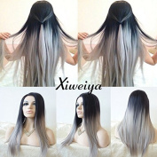 silky straight long ombre black to grey wig with dark root Synthetic Lace Front Wig Heat Resistant Hair Wigs For Women