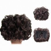 FESHFEN Short Messy Curly Hair Bun Piece Up Do Drawstring Ponytail Hair Extensions Chignon Comb Clip Scrunchy Scrunchie-M2/33 Darkest Brown & Dark Auburn Mixed