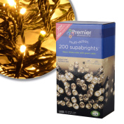 Premier 200 LED Warm White Supabright Tree Lights with Green Cable