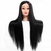Neverland Beauty 70cm 100% High Temperature Fibre Hair Hairdressing Training Mannequin Hairdresser Training Heads With Free Clamp For College and Professional Use Black