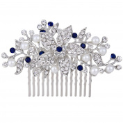 EVER FAITH Silver-Tone Crystal Simulated Pearl Bridal Flower Leaf Vine Hair Comb