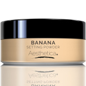 Aesthetica Banana Loose Setting Powder – Talc Free Setting Powder / Highlighter for a Superior Matte Finish - Flash Friendly – Includes Luxurious Velour Puff for Flawless Application
