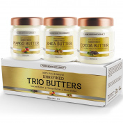 Triple Butters Gift Set - Shea Butter Cocoa Butter and Mango Butter Unrefined 100% Pure & Natural (3 jars x 240ml ) by Pure Body Naturals
