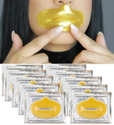 Anti Ageing Treatments Set / Kit of 10pcs Lips / Mouth 24K Gold Collagen Gel Crystal Masks / Patches for Fine Lines and Wrinkles Removal, Moisturising / Hydration, Skin Firming and Nourishing