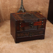 Charminer Retro Antique Flower Carved Wooden Jewellery Storage Box Container Case