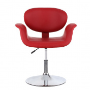 Docooler KAYAA Modern Ergonomic Adjustable PU Leather Barber Salon Stool, Padded Pneumatic Hairdresser Chair, Red/Brown