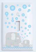 Elephant Light Switch Plate Covers / Single Toggle / Elephants with Grey and Blue Chevron Switch Plates with Blue Bubbles
