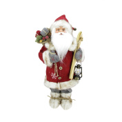 46cm Bundled Up Standing Santa Claus Christmas Figure with Skis and Lantern