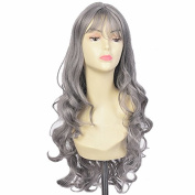 Besgo 70cm Length Curly Wave Milk Grey Wig For Women Cosplay and Daily Costume