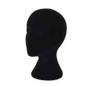 Hatop Female Styrofoam Foam Flocking Head Model Wig Glasses Display Stand Black