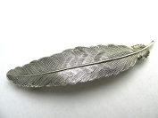 Feather Hair Clips Silver Feathers Bridal Barrette Large Feather For Thick Hair Artisan Crafted Hair Clips