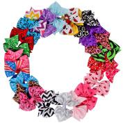 Imanom 24Pcs Baby Girl Hair Bows,Grosgrain Ribbon Boutique Hair Clips For Teens Girls Kids