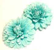 Tiffany Blue Aquamarine Hair Flower Clips - Sold as a pair