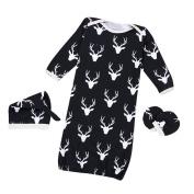 Efaster Baby Christmas Reindeer Pattern Warm Sleeping Bag Shirt Gown Hat Mittens