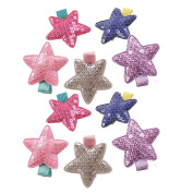 10Pcs Bling Bling Star Hair Clips Colourful Star Hair Bow Cuter Kids Toddlers Girls Hair Clips Christmas Party Hair Style