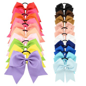 YOY 20 Pcs Fashion Baby Girls Boutique Hair Ties Ponytail Holders - Stretchy Elastic Ropes Rubber Bands Hair Accessories Set with Grosgrain Ribbon Bows 20cm and 11cm for Toddlers Teens Kids