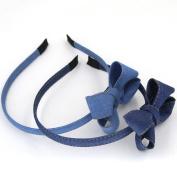 2PCS/lot New Fashion Korean Blue Jean Stereo Bowknot Hairbands Handmade Denim Cloth Headbands Kids Girls Women Hair Accessories