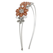 Lux Accessories Silver tone and Peach Acrylic Floral Flower