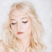 Bridalvenus Bridal Headband, Bridal Crown, Boho Bridal Headpiece,Bridal Hair Wreath, Wedding Headband for Women and Girls