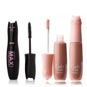 Pymega(TM) Waterproof Max Volume Black Mascara with Wheaten Nude Moisture Care Lip Gloss Makeup Set