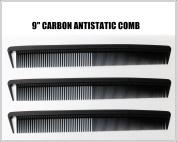 3pcs CARBON ANTI STATIC 23cm BLACK SECTIONING HEAT RESISTANT COMB
