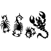 8 Sheets Cool Black Scorpion Temporary Tattoo Waterproof Body Arm Art Sticker Paper Tips Tools