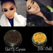 "New Eyeshadow Pigment Myo Shimmer Set ""Espresso"" & ""24K Gold"" Mica Cosmetic Mineral Makeup 3 Gramme Small Size"