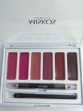 6 Colours Lip Gloss Palette Makeup Lipstick Palette With Double Lip Liner 1 Lip Brush