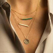 A & C Fashion Bohemia Stick Alloy 4 Tiers Pendant Necklace Jewellery for Women, Hot Sell Cute Torque for Girls.