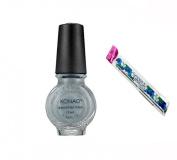Konad Stamping Nail Art DIY 11ml Special Nail Polish Grey Pearl with One Ganda Nail Buffer