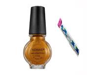 Konad Stamping Nail Art DIY 11ml Special Nail Polish Gold Brown with One Ganda Nail Buffer