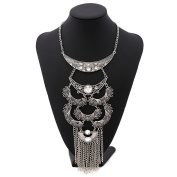 Lanue Women Multilayer Vintage Alloy Tassel Chain Bib Necklace Trendy Bohemian Turkish Jewellery