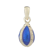 Russian Faberge Style Egg Pendant / Charm with crystals 1.9cm blue #1552-11-09