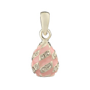 Russian Faberge Style Egg Pendant / Charm with crystals 1.6cm pink #1551-04-09