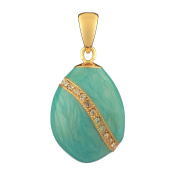 Russian Faberge Style Egg Pendant / Charm with crystals 1.9cm light blue #1503-10