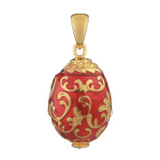 Russian Faberge Style Egg Pendant / Charm with crystals 1.9cm red #1502-05
