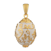 Russian Faberge Style Egg Pendant / Charm with crystals 2cm white #1502-01