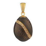 Russian Faberge Style Egg Pendant / Charm with crystals 2cm black #1503-13