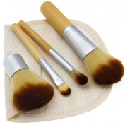 Portable Travel Make Up Brushes 4pcs Bamboo Handle w/Linen Bag