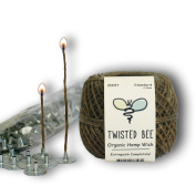 100% Organic Hemp Candle Wick + Wick Sustainer Tabs | Twisted Bee, 60m(Standard) x 200pcs