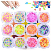 Ace Strass Neon Flat Round Sequin Paillettes for Nailart Glitter Craft