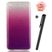 Huawei Y6 Case,TOYYM Gradient Colour Bling Glitter Clear Shell Bumper Back Case for Huawei Y6,Ultra Slim Flexible Soft Gel TPU Protective Case Cover for Huawei Y6-#8