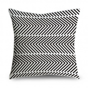 FabricMCC Geometric Pinwheel Stripe in Black and White Square Decorative Throw Pillow Case Cushion Cover 18x18